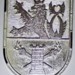 Kapsový odznak AČR Zpravodajská služba. Výroba odznaků. Hrubý odznak před opracováním a barvou.