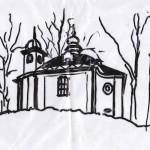 Nákres kostelíčku pro výrobu raznice medaile