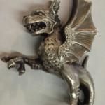 Drak stříbrná soška pečetítko Tafe - Šlechtický rod Taaffe