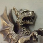 Pečetítko ze stříbra Socha draka. Fon Taaffe
