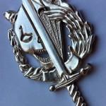 Odznak odlitý ve stříbře s nálitkem nad lebkou plameny a u meče