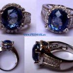 Safírový prsten s diamanty - OPRAVA - Kulatý AMERICKÝ ŠATON s kameny
