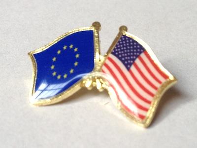 4faa965d6 Odznak Státní vlajky přátelství – EU+USA – Evropská unie – Amerika – ražba+ tisk